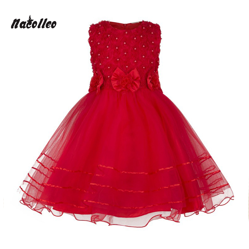 Nacolleo 2017 New summer Pink color Girl Princess Dresses Beading Sleeveless Girl Birthday Party Prom Flower Kids Clothes girls dress 2017 new summer flower kids party dresses for wedding children s princess girl evening prom toddler beading clothes