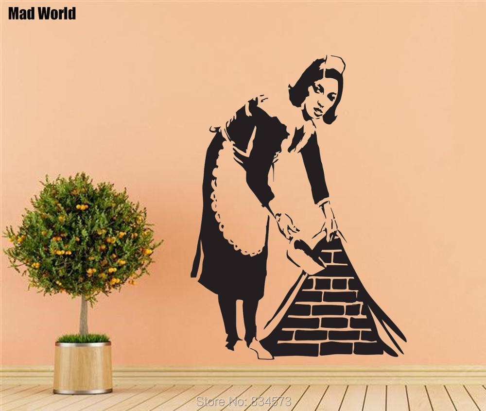 Mad World Banksy Clean Funny Woman Silhouette Wall Art Sticker Wall ...
