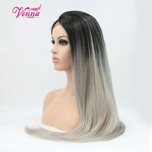 Ombre Wig Anime Cosplay Wig Long Straight Synthetic Wig Black To Grey Ombre Wigs For Black Women