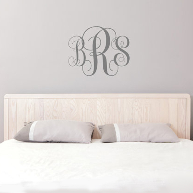 monogram wall decal personalized initials college dorm room