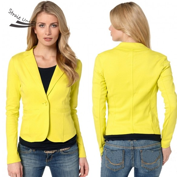 dceed139 Fashion Ladies Women Turn-down Neck Long Sleeve One Button Casual Slim  Blazer Coat Yellow