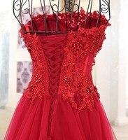 Luxury Crystal Evening Dress Red Beading Satin Sexy A Line Bride Dress 2018 Real Picture Vestido De Festa