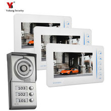 Yobang Security touch keypad Apartment house Video Door Phone Intercom System Doorbell Camera with 3 Monitor security kit