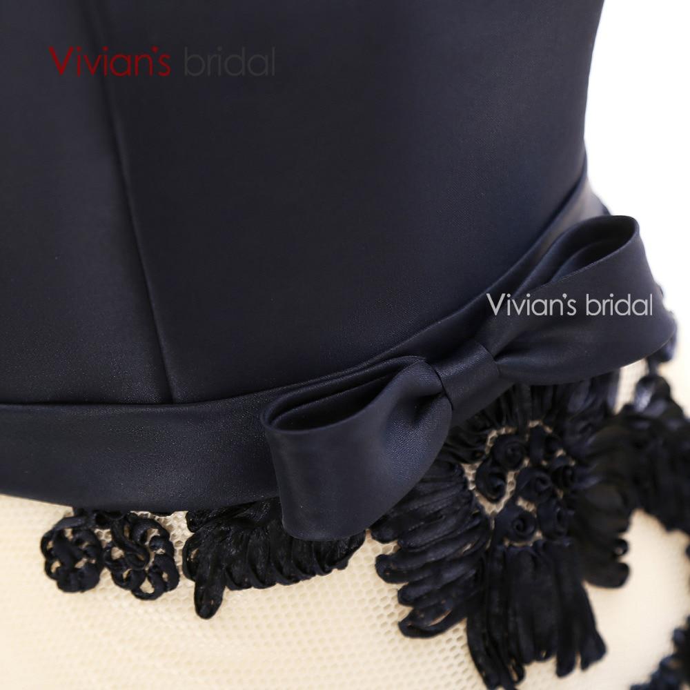 Pengantin Vivian Elegant A Line Petang Satin Satin Floral Cetak Lace - Gaun acara khas - Foto 6