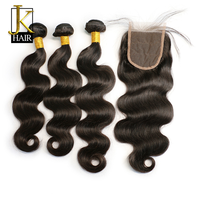 Brazilian Human Hair Bundles With Closure Non Remy Hair Weave