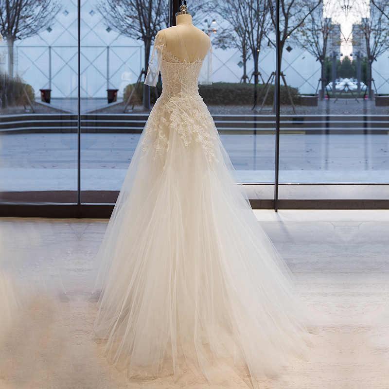 ארוך חצי שרוול מוסלמי תחרת שמלות כלה באיכות גבוהה 2019 כלה פשוט הכלה שמלה weddingdress vestido דה noiva