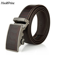 HooltPrinc Good Men Belt Luxury High Quality Cow Genuine Leather Belts For Men Automatic Buckle Fashion