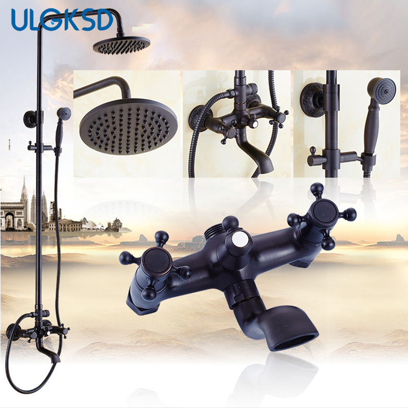Bath Shower Faucet oil rubbed bronze dual handles shower set 8 inch shower head mixing valve mixer water tap with hand shower
