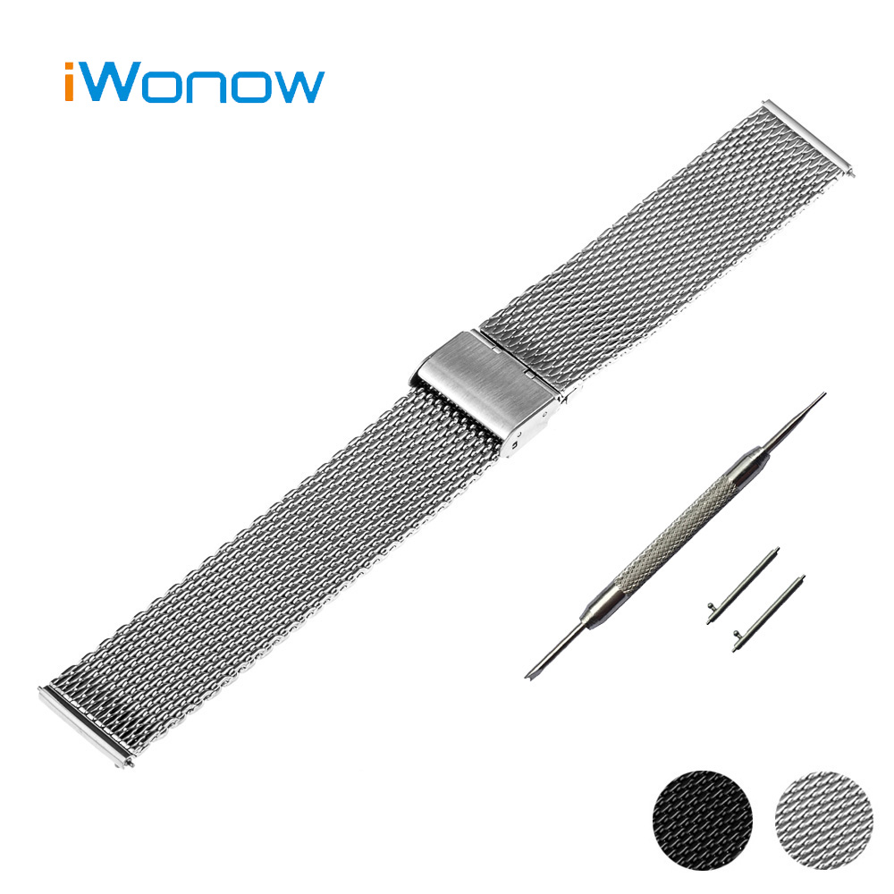 Milanese Mesh Stainless Steel Watch Band 22mm for Samsung Gear S3 Classic Frontier Hook Buckle Strap