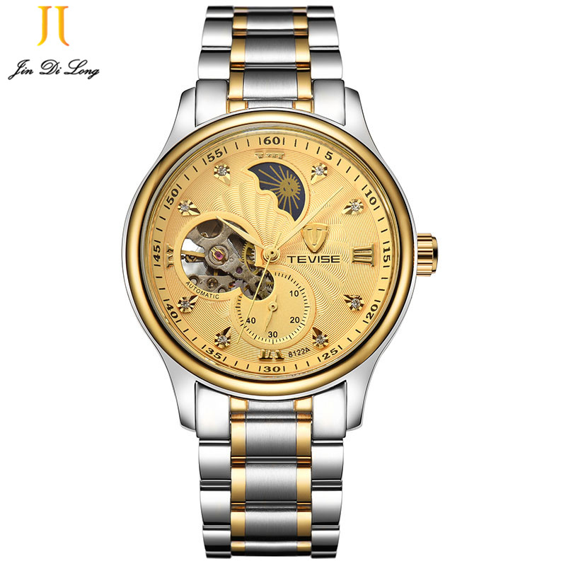 TEVISE Luxury Top Brand Men's Automatic Mechanical Watches Business Male Moon Phase Watch Full Stell Wrist Watches Clock Relogio relogio masculino tevise luxury brand watch men tourbillon automatic mechanical watches moon phase skeleton wrist watch clock