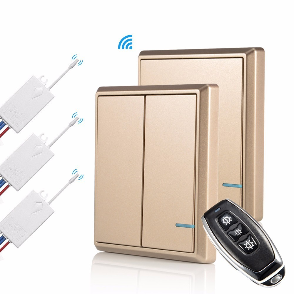 Wireless Remote Control Light Switch and Receiver Kit No Wiring IP54 Waterproof Switches Lamp Switches Ceiling Lamps LED BulbsWireless Remote Control Light Switch and Receiver Kit No Wiring IP54 Waterproof Switches Lamp Switches Ceiling Lamps LED Bulbs