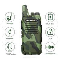 מכשיר הקשר 2pcs RETEVIS RT22 מקצועי Handy מכשיר הקשר מיני FRS VOX USB Charge UHF שני הדרך רדיו Comunicador משדר Woki טוקי (3)