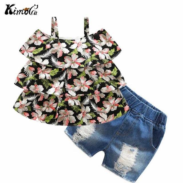 Kimocat Summer new baby girl flower print condole belt unlined upper garment jeans worn pants suit