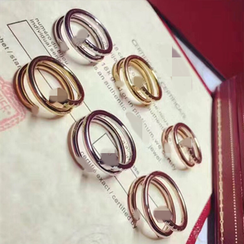 2018 new High quality brand logo ring jewelry silver& gold color Double T rings for women fashion jewelry party gift wholesale