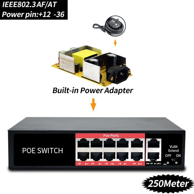 48 V de la red POE interruptor Ethernet con 8 10/100 Mbps IEEE 802,3/af en adecuado para cámara IP inalámbrico/AP/sistema de cámaras de CCTV