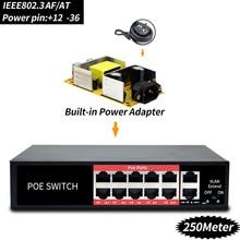 48 в сетевой переключатель POE Ethernet с 8 10/100 Мбит/с порты IEEE 802,3 af/at подходит для IP камера/беспроводной AP/CCTV камера системы