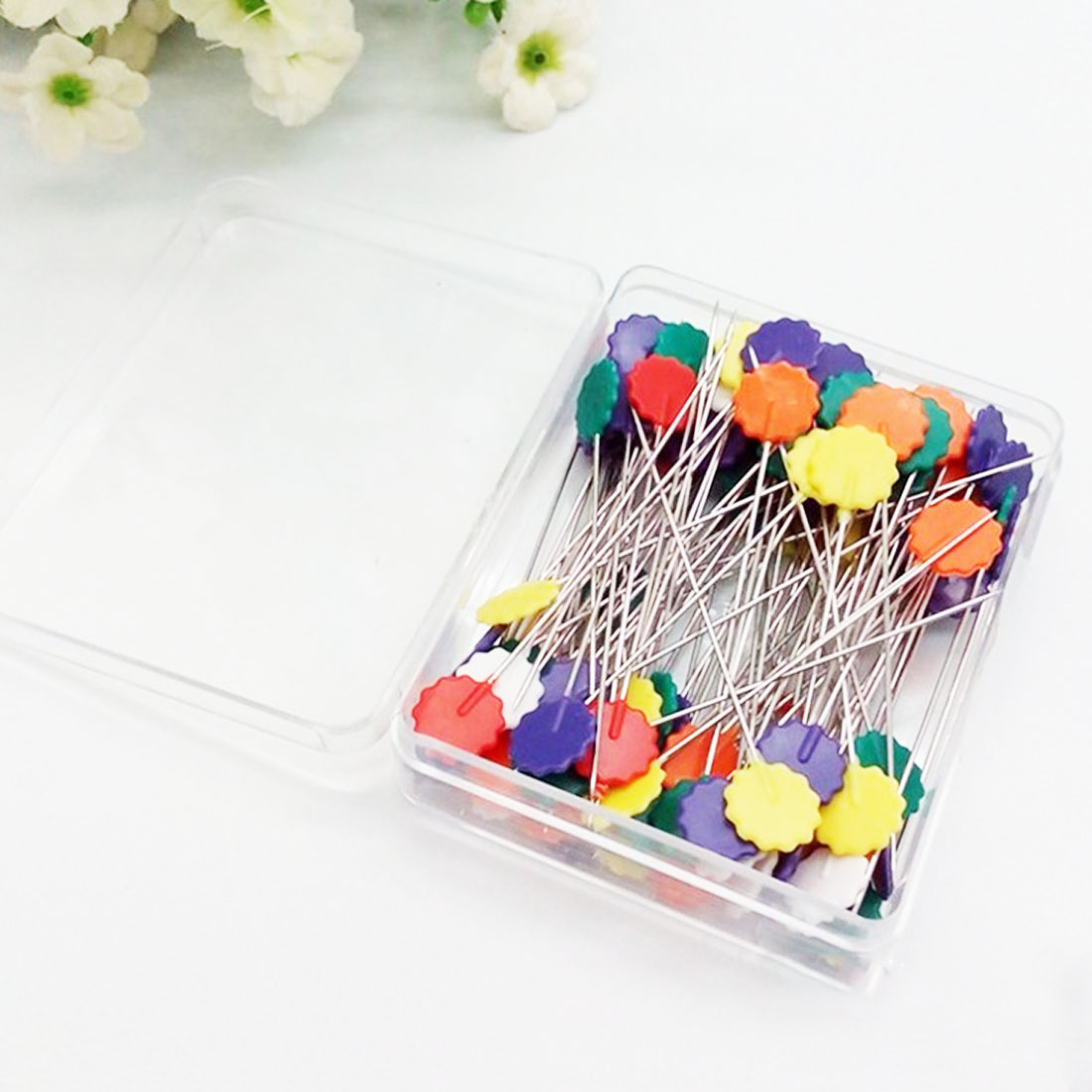 Slaxry Head Pins Multicolor Patchwork Pins Flower Bird Button DIY Quilting Tool Sewing Accessories 50 Per Pack Tulip