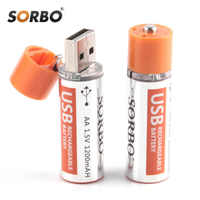 Oryginalny Sorbo 4 sztuk akumulator na USB AA 1.5V 1200mAh szybkie ładowanie akumulator li-po jakości baterie AA Bateria roHS CE