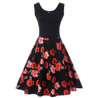 Sisjuly Women Vintage Dress Floral Print Patchwork Elegant Dresses A Line Summer Mid Calf Zipper Sleeveless