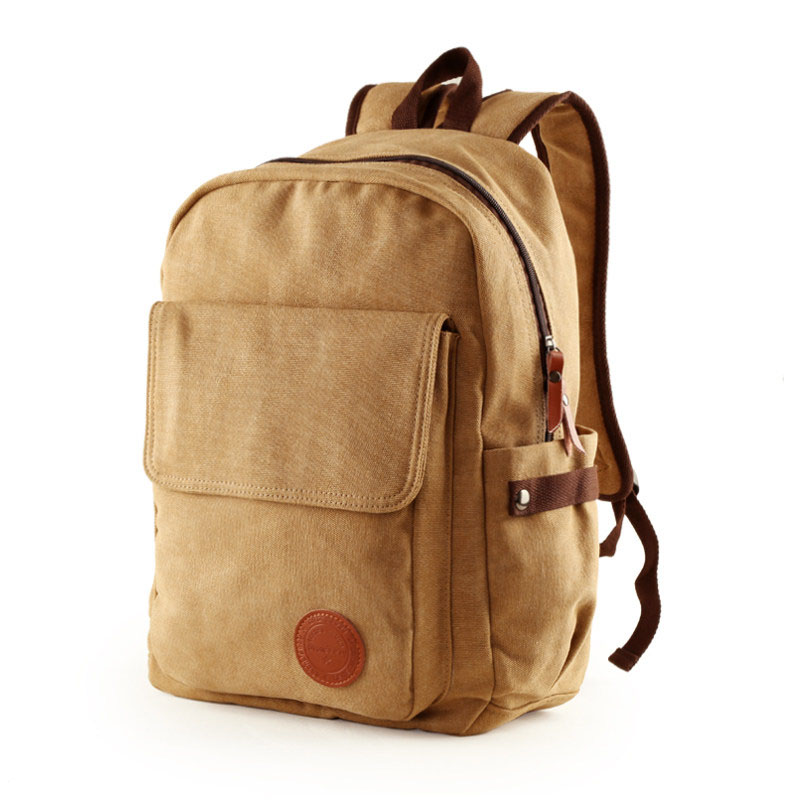 Canvas Backpack Men Korean Style Fashion Simple Backpack British Style Designer Laptop Bag Preppy Style Plain Travel Rucksack