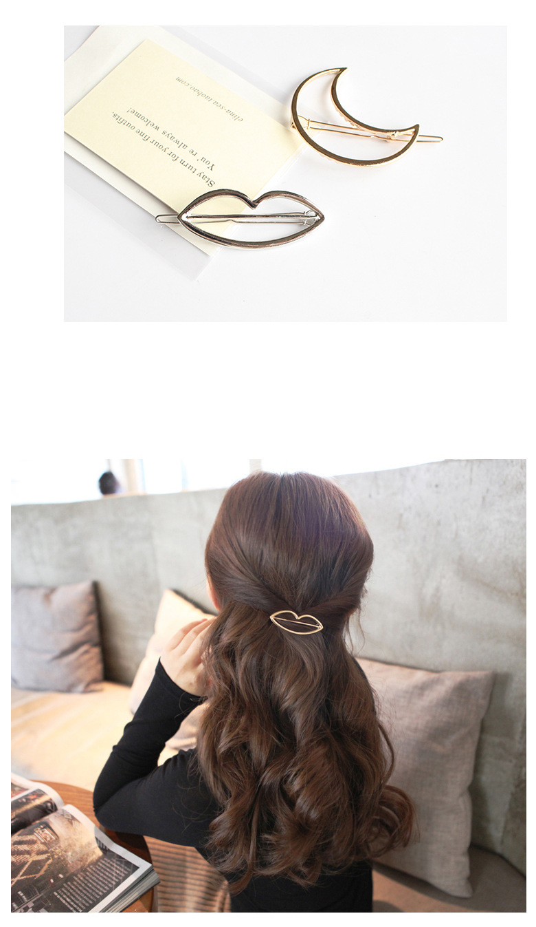Fashion Geometric Mental Hairpins for Girls Triangle Moon Hair Pin Lip Round Star Hair Clip for Women Barrettes Hair Accessories 5