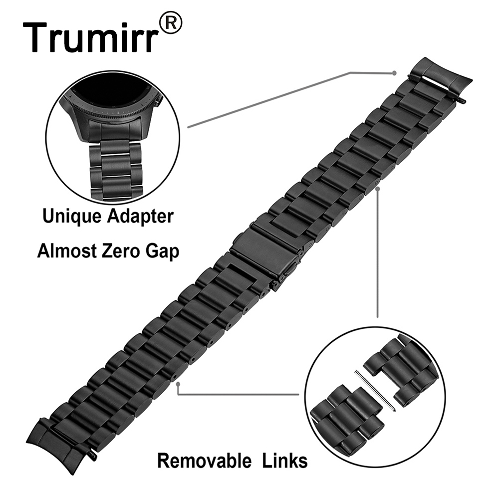 Zero Gap Curved Stainless Steel Watchband + Link Remover for Samsung Galaxy Watch 42mm SM-R810/SM-R815 Band Wrist Strap Bracelet