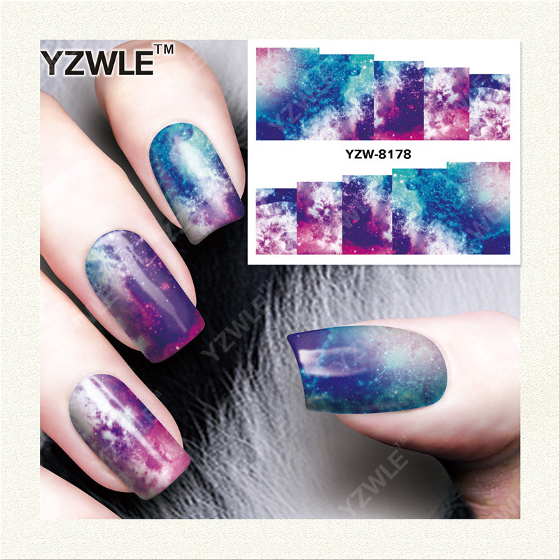 YZWLE 1 Sheet DIY Decals Nails Art Water Transfer Printing Stickers Accessories For Manicure Salon YZW-8178 yzwle 1 sheet hot gold 3d nail art stickers diy nail decorations decals foils wraps manicure styling tools yzw 6015