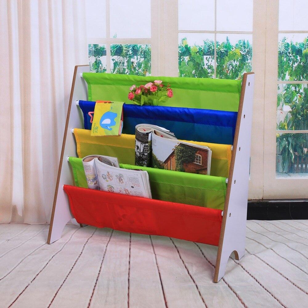 Multi-color Pocket Wooden Bookshelf Kids Bookshelf Creative Children Furniture Bookcase Shelve Toy Storage Rack #3
