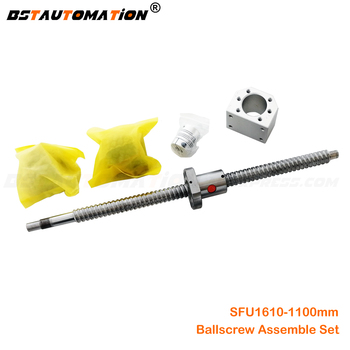 Ballscrew SFU 1610 1100mm ball screw with end machined+ 1610 Ballnut FK12 FFF12 End support +Nut Housing+Coupling for CNC parts