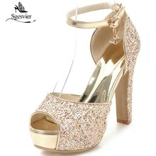 Women Sandals Buckle-Shoes Platform Wedding-Party-Shoes Summer Ankle-Strap Thick Heels