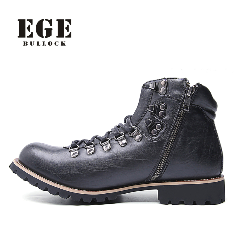 EGE Brand Genuine Leather Classics Autumn Men Boots Lace-up Handmade Cow Leather Shoes Round Toe Retro Ankle Boots for Men ninja ninjago superhero spiderman batman capes mask character for kids birthday party clothing halloween cosplay costumes 2 10y