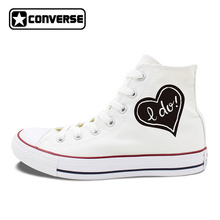 Original Design LOVE Proposal Marriage Converse Chuck Taylor Canvas Sneakers Man Woman's White Skateboarding Shoes Wedding Shoes(China)