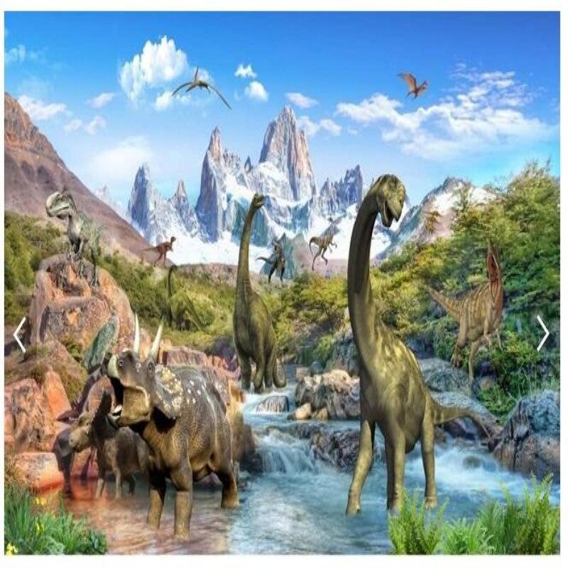 Papier peint mural 3d personnalisé jurassique dinosaure monde salon chambre Papel De Parede chambre d'enfants murs Cartoon forêts
