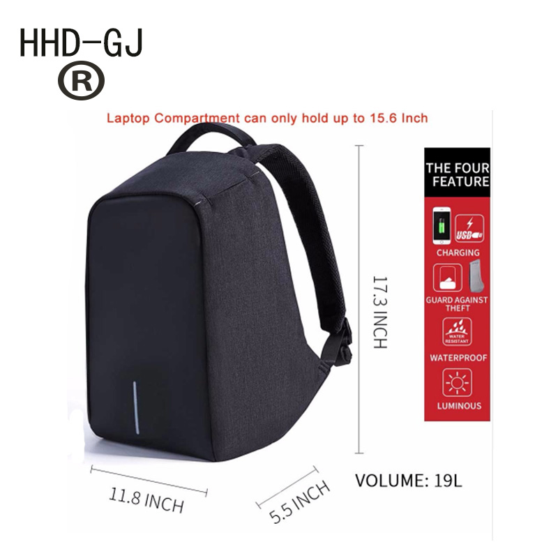 HHD-GJ Anti-theft Laptop Men Backpack USB Charge Computer Women Backpacks Casual Laptop Rucksack School Bags for Teenagers