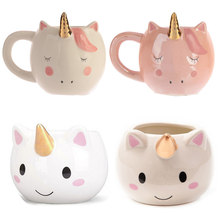 New Unicorn Mug 300mL Rainbow Horse Unicorn Mugs Cup Cuteness 3D Unicorn Ceramic Coffee Mug Gold/Copper Stereo Cute Unicorn Cups(China)