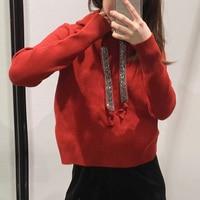 RZIV Spring women's sweatshirt casual solid color diamond decorative hooded sweatshirt