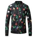 New 2017 Fashion Bomber Jacket Coat Men Floral Print Baseball Collar Male Jackets Fashion Outfit Windbreaker Slim Fit Coat Men