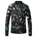 Nuevo 2017 Fashion Bomber Jacket Coat Hombres de Béisbol de la Impresión Floral de Cuello Hombre Chaquetas Moda Cazadora Traje Slim Fit Hombres de la Capa