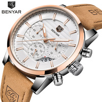 2019 Top Marke BENYAR Männer Uhren Luxury Business Wasserdichte Sport Chronograph Quarz Braun Gold Männlichen Uhr Relogio Masculino-in Quarz-Uhren aus Uhren bei