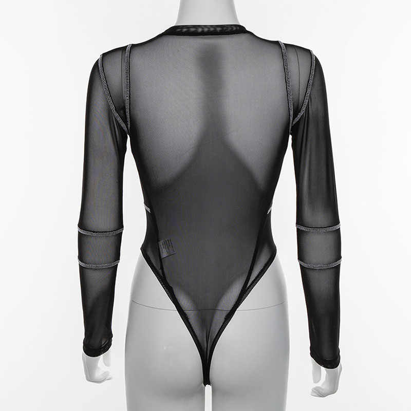 Simenual пикантная обувь прозрачный облегающие костюмы черного цвета из сетчатой ткани с длинными рукавами и комбинезон с принтом букв в полоску Повседневное Для женщин боди 2019
