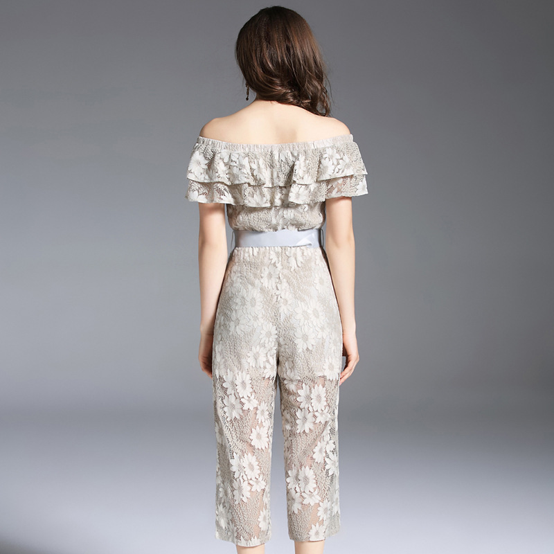 New Women Lace Strapless Pants Trousers Jumpsuit Bodycon Playsuit Women Clubwear Beach Party Romper Suit 2018 Sexy Lace Overalls 4