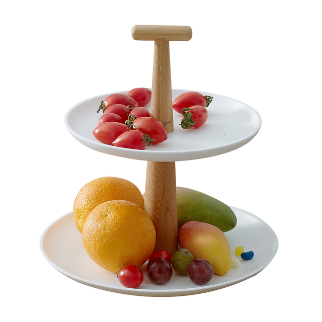 Cake Stand 2 Ties Plates Stand Dishes White Candy Fruit Tray Kitchen Organizer Wedding Party Decoration