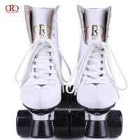 Reniaever صف مزدوج سكيت عجلات البولي صف مزدوج قاعدة سبائك الألومنيوم الأسطوانة الجلدية التزلج الأحذية ، الأبيض