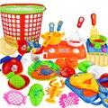 35 unids/set vegetal plástico fruit bowl cuchara de cocina de corte toys pretend play toy educación cocinero cosplay para los niños embroma