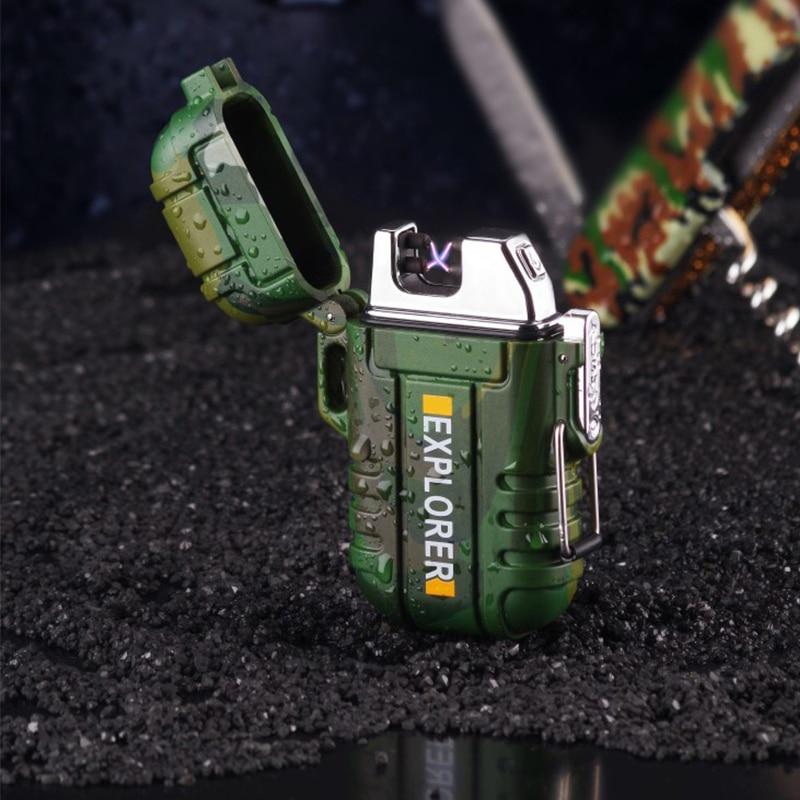 USB Isqueiro do carro Duplo Arco de Plasma Para Acampamento Ao Ar Livre à prova d' água Esportes Isqueiro Para Fumar