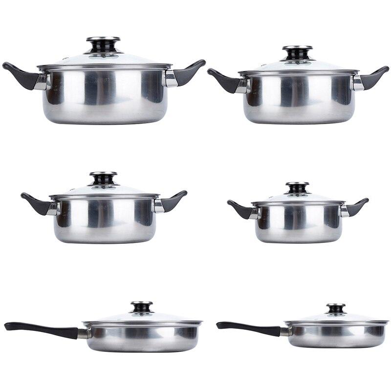 6 pièces/ensemble ustensiles de cuisine en acier inoxydable casseroles casseroles Kit avec couvercle couvercle cuisine cuisson Set livraison gratuite HWC