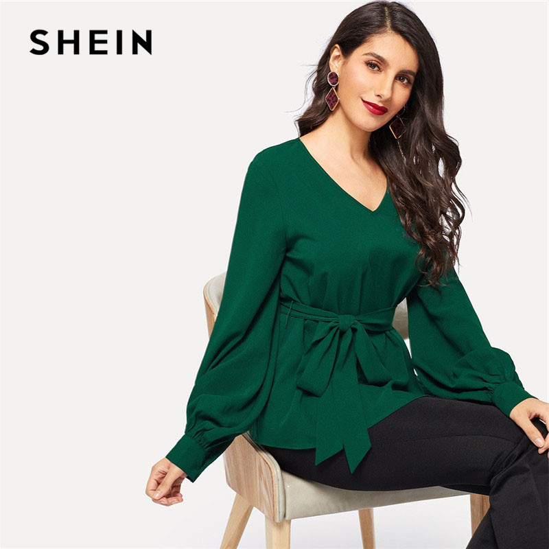 SHEIN Green OL Lady Elegant Lantern Sleeve Belted Textured V Neck Solid Blouse Women Spring Workwear Tops And Blouses