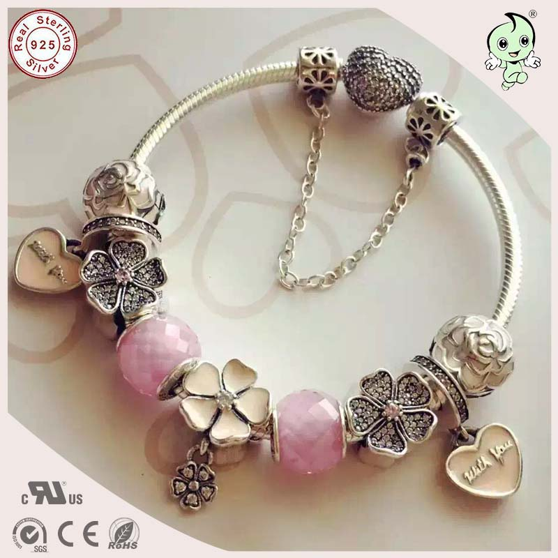 New Arrival Hot Sale High Quality Love Pink Silver Flower Charms Summer Style 925 Authentic Silver Charm Bracelet