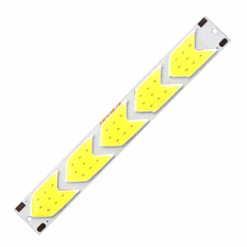 [Sumbulbs] 12V 5W Arrow Shaped LED Light COB Lamp Strip 6500K Pure White 129*17.5mm DIY Dcorative Lighting Signal Lamp Work Bulb