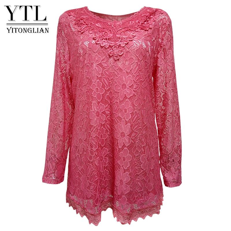 YTL Women Plus Size Retro Solid Pink Floral Lace Blouse Long Sleeve V Neck Crochet Tunic Top Ladies Shirts Tee 6XL 7XL 8XL H026